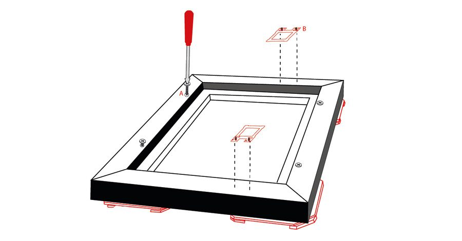 Now screw the frame onto the photo canvas using the supplied screws. Attach also the mounting part symmetrically into the frame with screws.